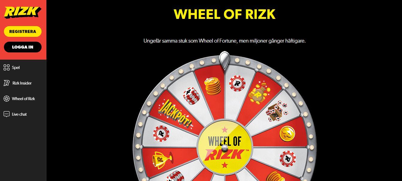 Spela på Wheel of Rizk hos Rizk casino på nätet